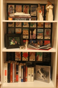 Bookshelf with character