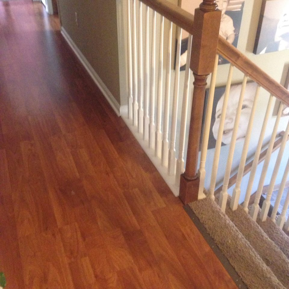 We said goodbye to carpet a living room renovation an for Hardwood floors upstairs